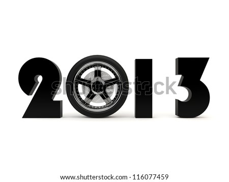 Black numbers with wheel from the car instead of zero on a white background - stock photo
