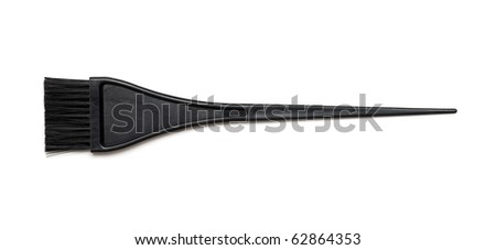 Black nylon bristle hair dye brush isolated on white - stock photo