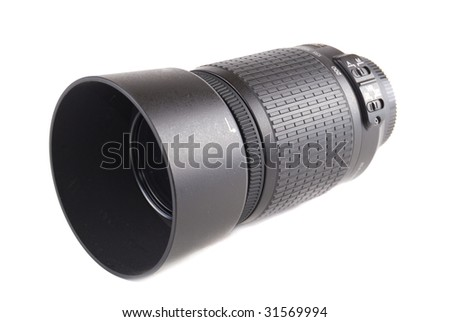 Black objective for the digital chamber. 55-200 - stock photo