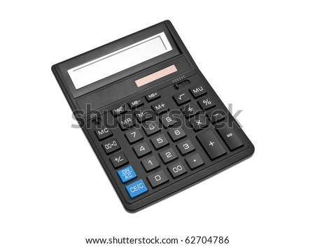 black office calculator isolated over white backghound