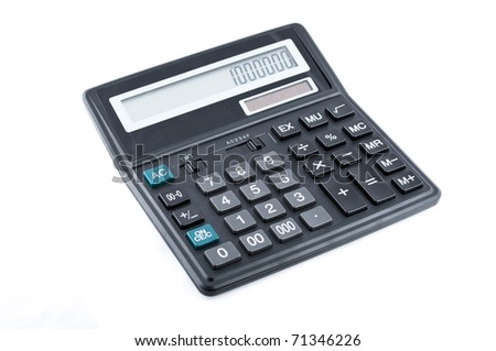 Black office calculator isolated over white background
