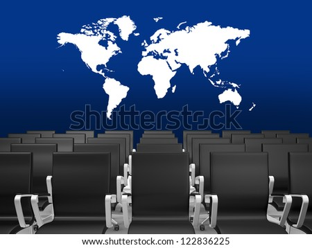 Black office chairs in a conference hall with world map on blue background. - stock photo