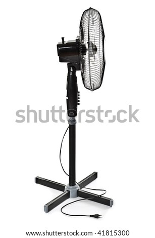 black office fan isolated on white - stock photo