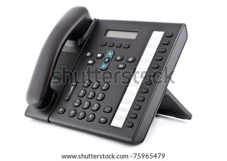 Black office IP Phone isolated on white background - stock photo