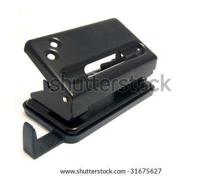 black office perforator on white background