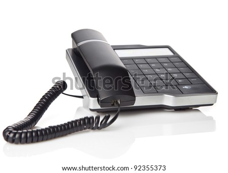 Black Office Phone isolated on white background - stock photo