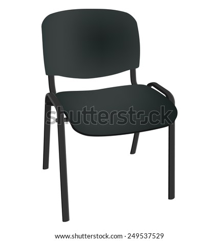 Black office single chair isolated on white background - stock photo