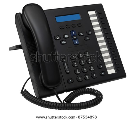 black office system IP phone with blue empty space display for your logotype or advert isolated on white background