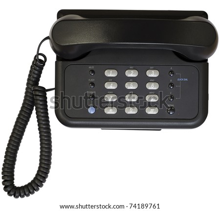 Black office telephone isolated on white background. Top view. - stock photo