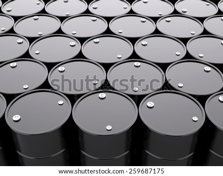 Black Oil Barrels Background , 3d render - stock photo