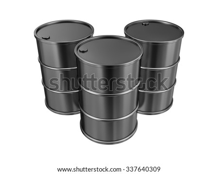 Black oil barrels, isolated on a white background