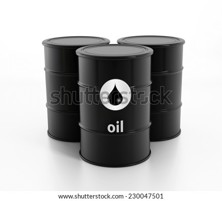 Black oil barrels isolated on white - stock photo