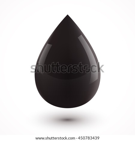 Black oil drop isolated on white background