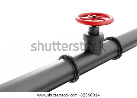 Black oil pipe with red valve, isolated on white background - stock photo