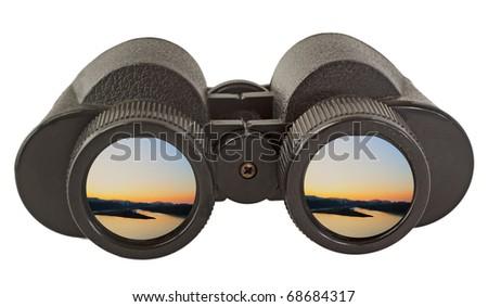 Black old binocular isolated over white background - stock photo