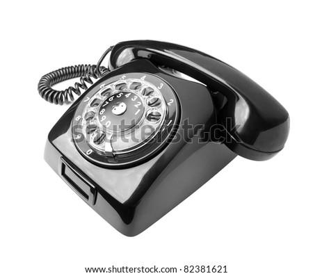 Black old phone isolated on white background - stock photo