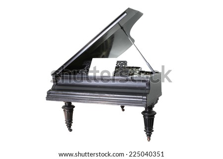 black old  piano isolated on white background - stock photo