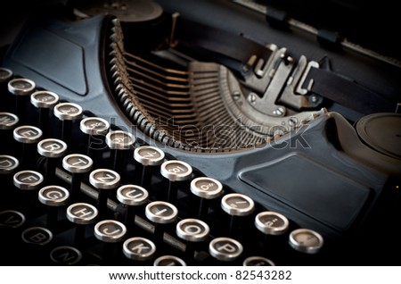 black old typewriter in antique style - stock photo