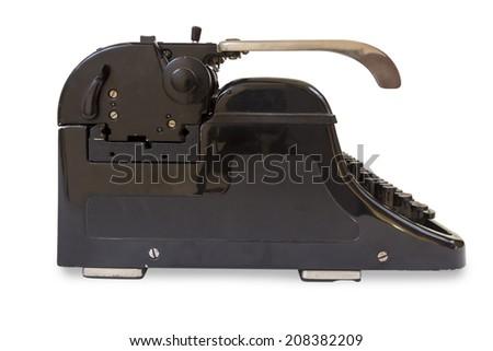 Black old Typewriter isolated on white background - stock photo