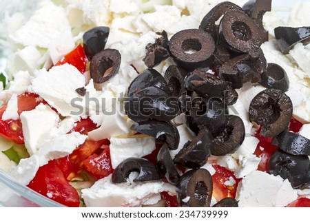 Black olives and mozzarella in a vegetable salad - stock photo