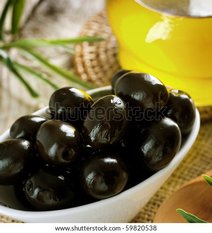Black Olives closeup.Selective Focus - stock photo