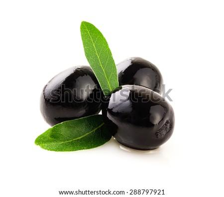 Black olives on white background. - stock photo