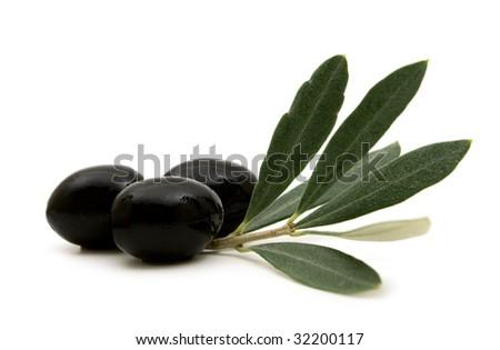 black olives on white background - stock photo