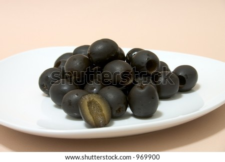 Black Olives on White Plate - stock photo
