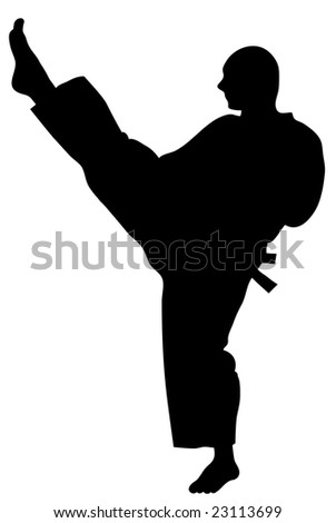 Black on white illustration of kicking karate man