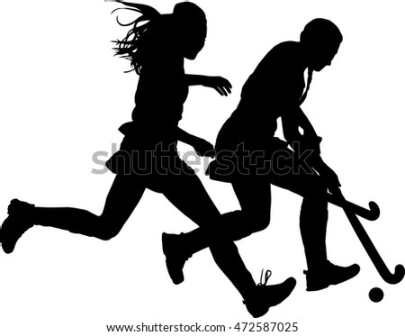 Black on white silhouette of girls ladies hockey players battling for possession of ball