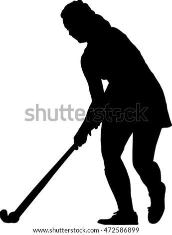 Black on white silhouette of standing girl ladies hockey player prepare to hit balll