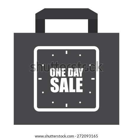 Black One Day Sale Shopping Bag, Label, Sign or Icon Isolated on White Background - stock photo