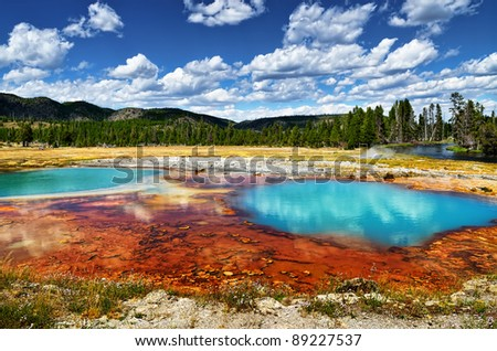 Black Opal Pool in Biscuit Basin, Yellowstone - stock photo
