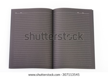 Black open book note on white background - stock photo