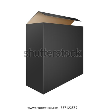 Black Open Box on a White Background. Illustration