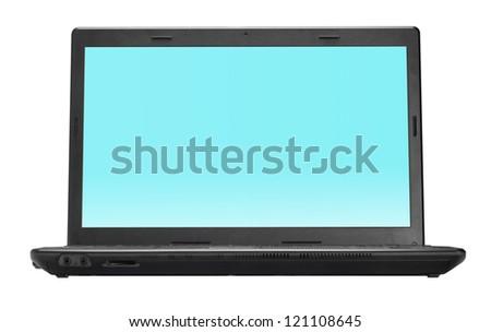 Black open laptop isolated on white background - stock photo