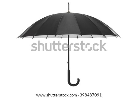 Black open umbrella isolated on white, clipping path included
