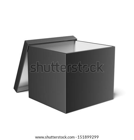Black opened box - stock photo
