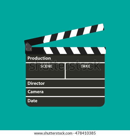 Black opened clapperboard. Movie clapper board. illustration in flat style on green background