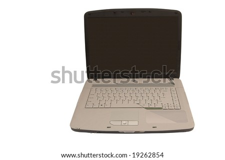 Black opened laptop with gray keyboard isolated over white