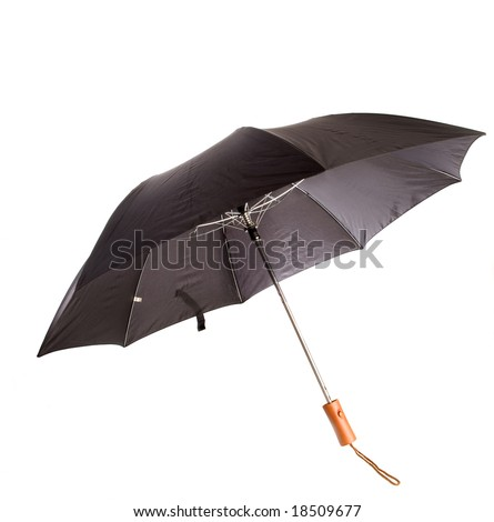 Black,opened,short handled umbrella,white isolation