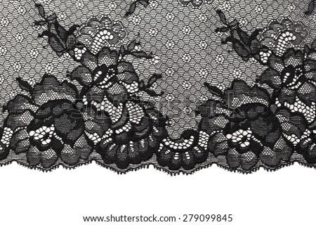 Black openwork lace isolate on background. - stock photo