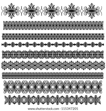 Black ornamental trim collection isolated over white background