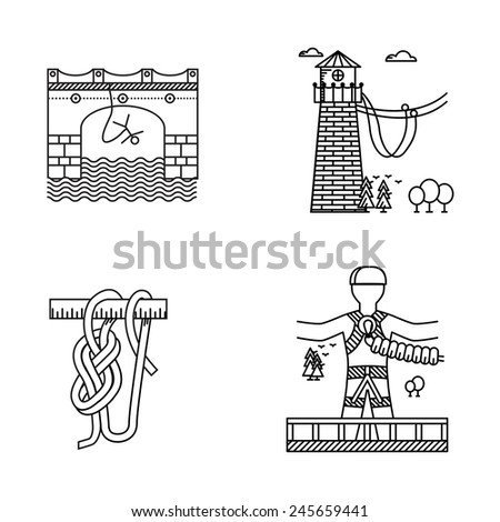 Black outline icons for rope jumping. Set of black contour icons for same extreme sport as rope or bungee jumping on white background. - stock photo
