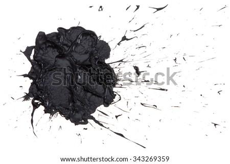 Black paint blot isolated on the white background - stock photo
