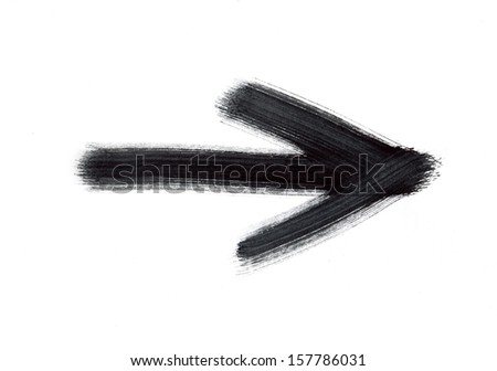 Black painted arrow - stock photo