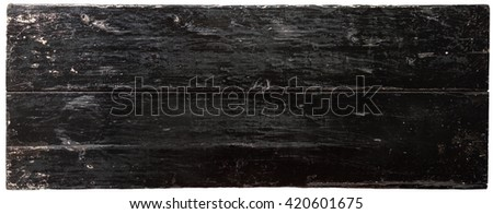 Black painted board isolated on white background. Horizontal orientation. - stock photo
