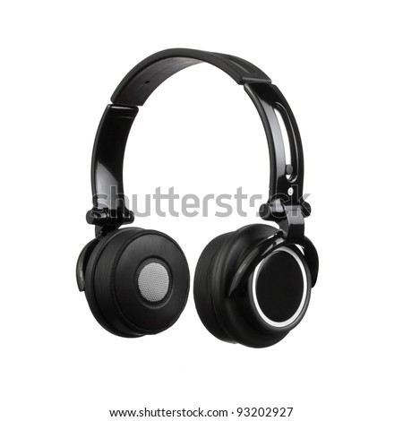 Black Pair of Headphones Isolated on a White Background - stock photo