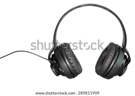 Black Pair of Headphones on a White Background