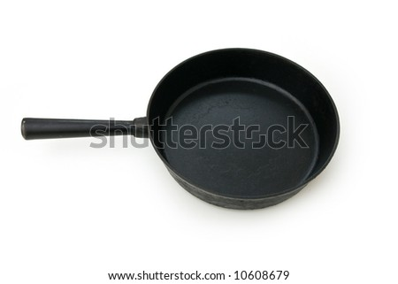 Black pan isolated on white